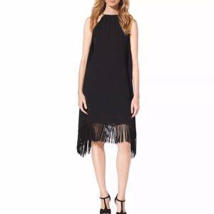 Michael Kors Gold Chain Black Fringe Dress
